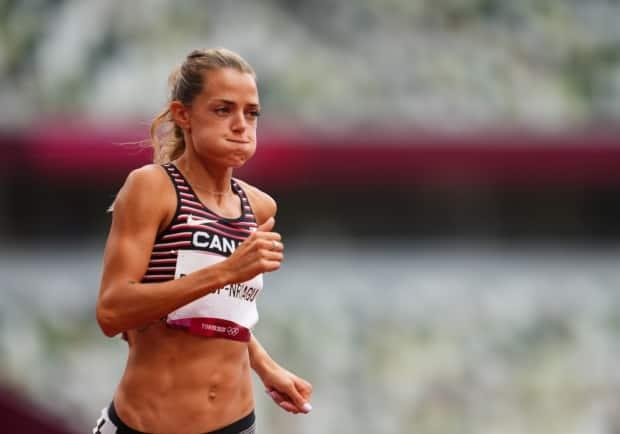 Canada's Melissa Bishop-Nriagu was eliminated from contention in the women's 800 metres after placing fourth in her heat and 28th overall at the Tokyo Olympics on Friday in Japan. (Aleksandra Szmigiel/Reuters - image credit)