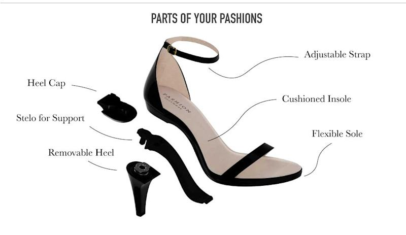 """All Pashion Footwear shoes come with a full """"Convertible Tech package,"""" including the removable Pashion Stelo™ arch support, rubber heel caps and a drawstring bag to stow parts when not in use."""