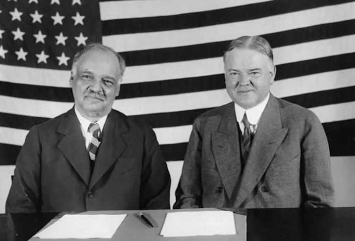 Vice President Charles Curtis and President Herbert Hoover, 1929. (via Getty)