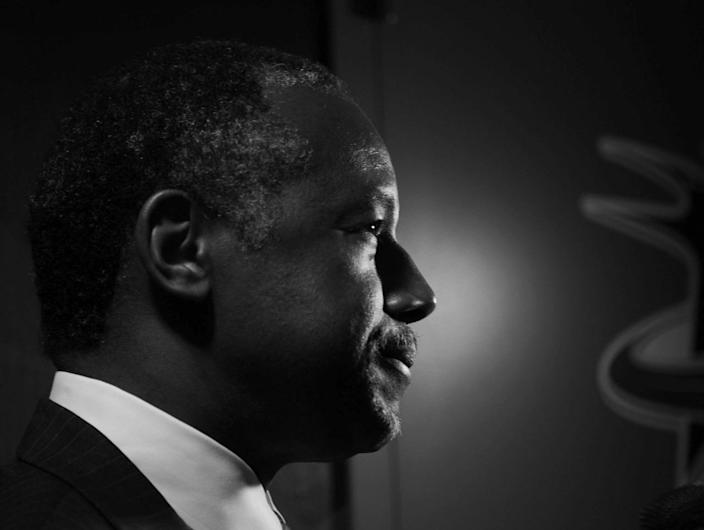 <p>Dr. Ben Carson is interviewed in the hallway of the convention center. (Photo: Khue Bui for Yahoo News)</p>