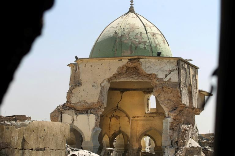 A picture taken on June 29, 2017, shows the destroyed Al-Nuri Mosque in the Old City of Mosul, during the ongoing offensive to retake the area from Islamic State group fighters