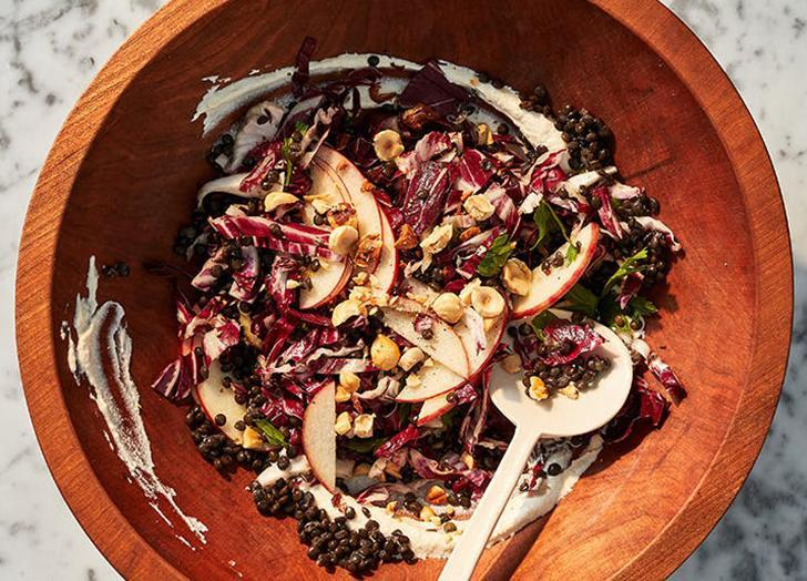 """<h2>11. Radicchio, Lentil and Apple Salad with Vegan Cashew Dressing</h2> <p>A creamy dressing sans actual cream? You better believe it. (<em>Psst</em>: You can also sub the dressing anywhere you'd use ricotta cheese.)</p> <p><a class=""""link rapid-noclick-resp"""" href=""""https://www.purewow.com/recipes/radicchio-lentil-apple-salad-vegan-cashew-dressing"""" rel=""""nofollow noopener"""" target=""""_blank"""" data-ylk=""""slk:Get the recipe"""">Get the recipe</a></p>"""