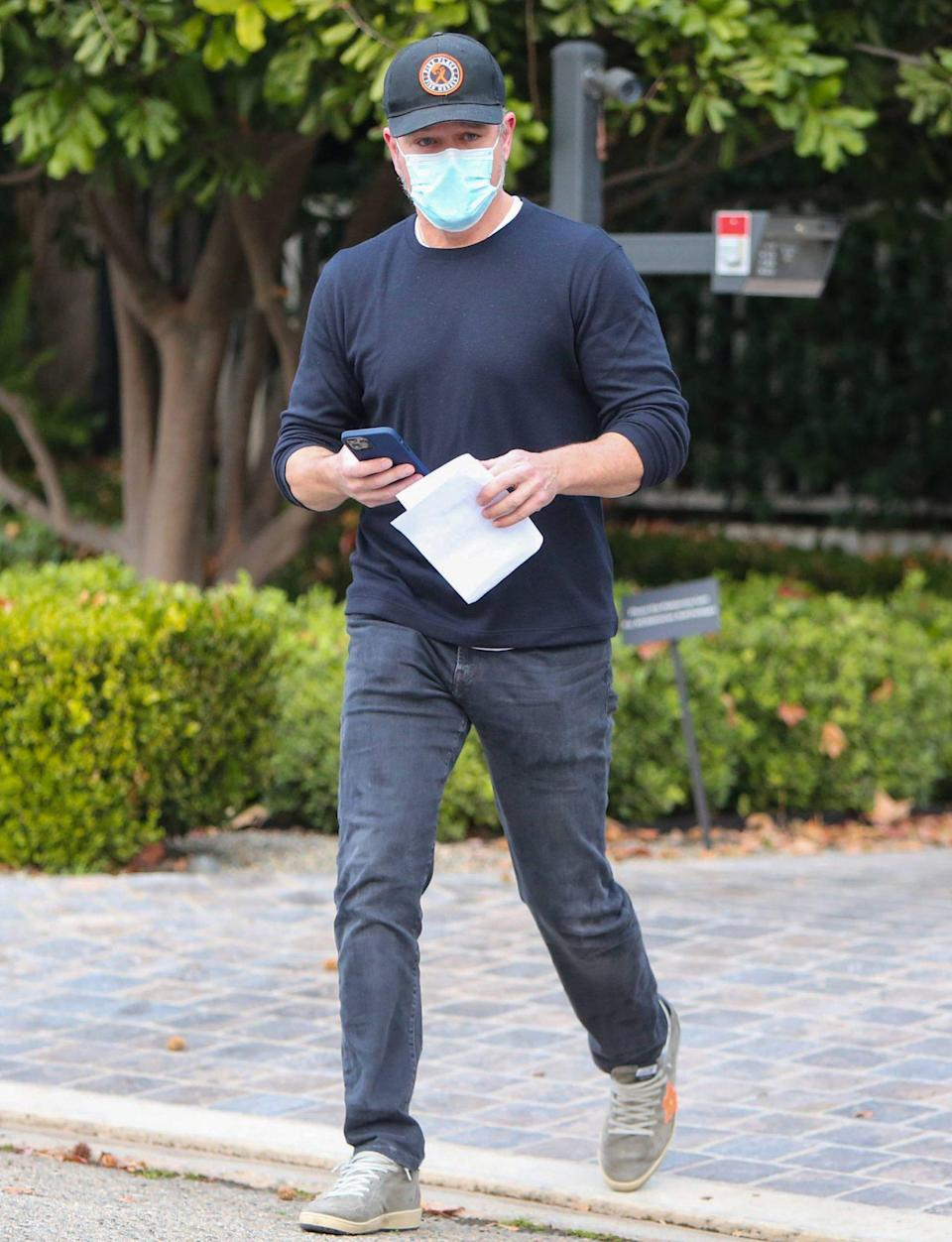 <p>Matt Damon sports a mask while out and about in L.A. on Tuesday. </p>
