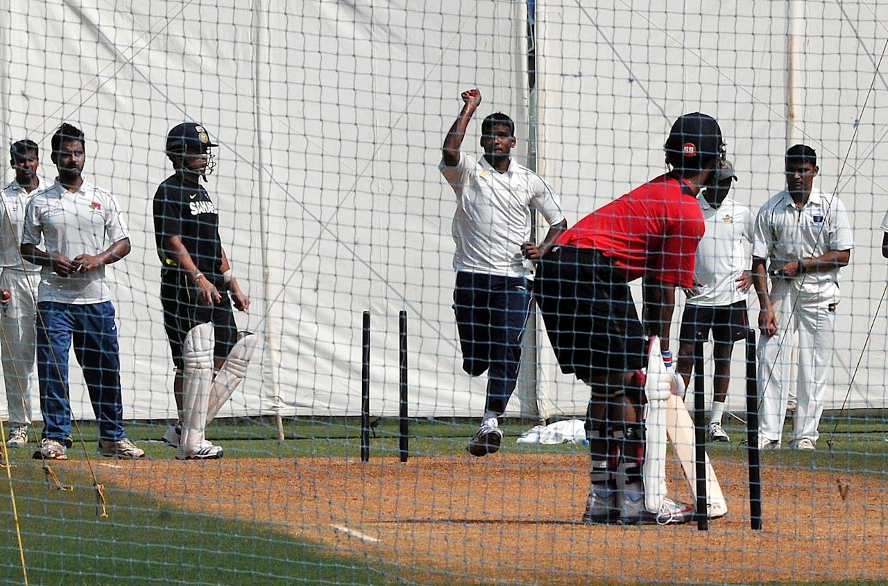 Sachin Tendulkar practice with Mumbai team ahead of his last Ranji Trophy match for Mumbai against Haryana in Lahli, Rohtak in Mumbai on Oct.23, 2013. (Photo: B L Soni/IANS)