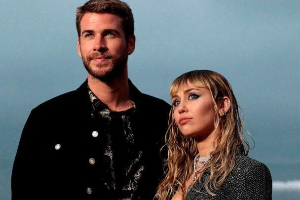 PHOTO: Miley Cyrus and husband Australian actor Liam Hemsworth arrive for the Saint Laurent Men's Spring-Summer 2020 runway show in Malibu, Calif., June 6, 2019. (Kyle Grillot/AFP/Getty Images)