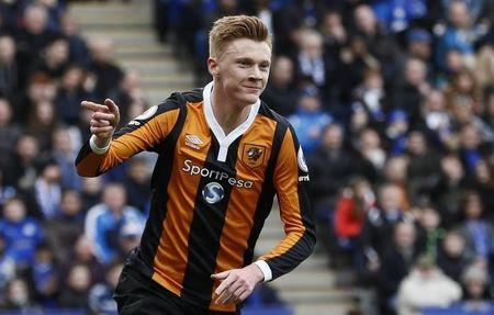Hull City's Sam Clucas celebrates scoring their first goal