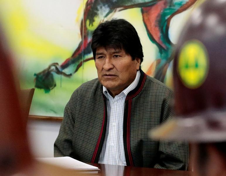 Bolivia's President Evo Morales is seen during a meeting with miners leaders at the presidential palace in La Paz