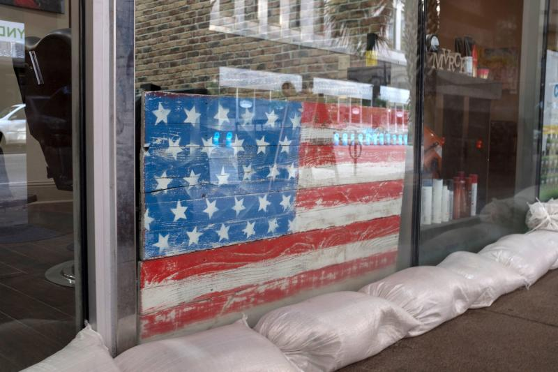 Sandbags line store front of a barber shop in preparation for tropical storm Barry in New Orleans, Louisiana, on July 11, 2019. (Photo: Seth Herald/AFP/Getty Images)