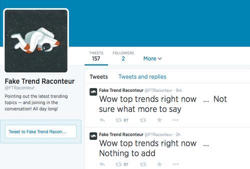 Fake Trend Raconteur Twitter profile