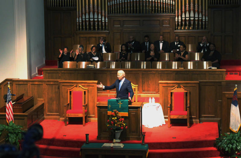 "FILE - In this Sunday, Sept. 15, 2019, file photo, former vice president and Democratic presidential candidate Joe Biden attends a service at 16th Street Baptist Church in Birmingham, Ala. Visiting the black church bombed by the Ku Klux Klan in the civil rights era, Democratic presidential candidate Biden said Sunday the country hasn't ""relegated racism and white supremacy to the pages of history"" as he framed current tensions in the context of the movement's historic struggle for equality. (Ivana Hrynkiw/The Birmingham News via AP, File)"