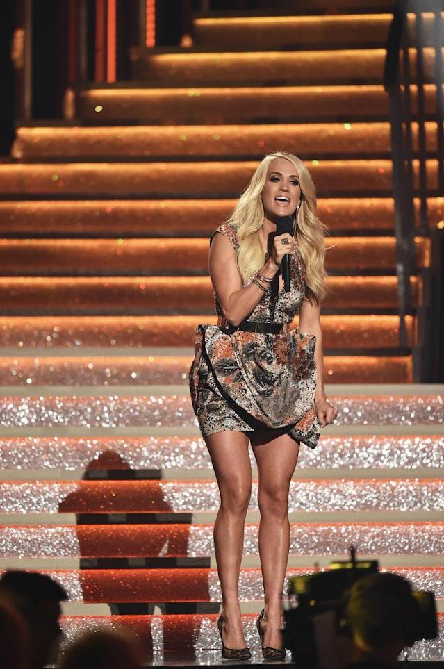<p>Carrie Underwood performs onstage at the 51st annual CMA Awards at the Bridgestone Arena on November 8, 2017 in Nashville, Tennessee. (Photo by John Shearer/WireImage) </p>