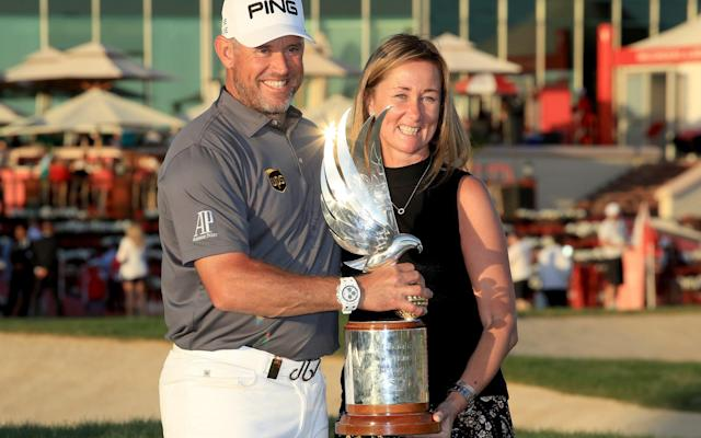 Lee Westwood celebrates after picking up victory in Abu Dhabi - David Cannon Collection