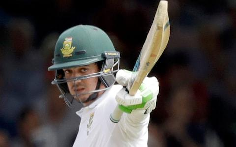 South Africa wicketkeeper Quinton de Kock celebrates reaching 50 runs during the first test between England and South Africa at Lord's - Credit: AP Photo/Matt Dunham