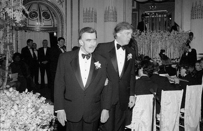 Fred Trump Sr. and Donald Trump at his wedding to Marla Maples in 1993. The elder Trump was diagnosed with Alzheimer's that same year.