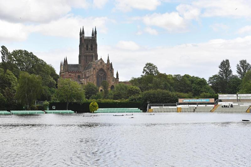 Worcestershire County Cricket Club's New Road ground in Worcester fully submerged by floodwater (PA)