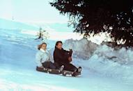 <p>Timothy Dalton and Maryam d'Abo on the set of 'The Living Daylights', 1987.</p>