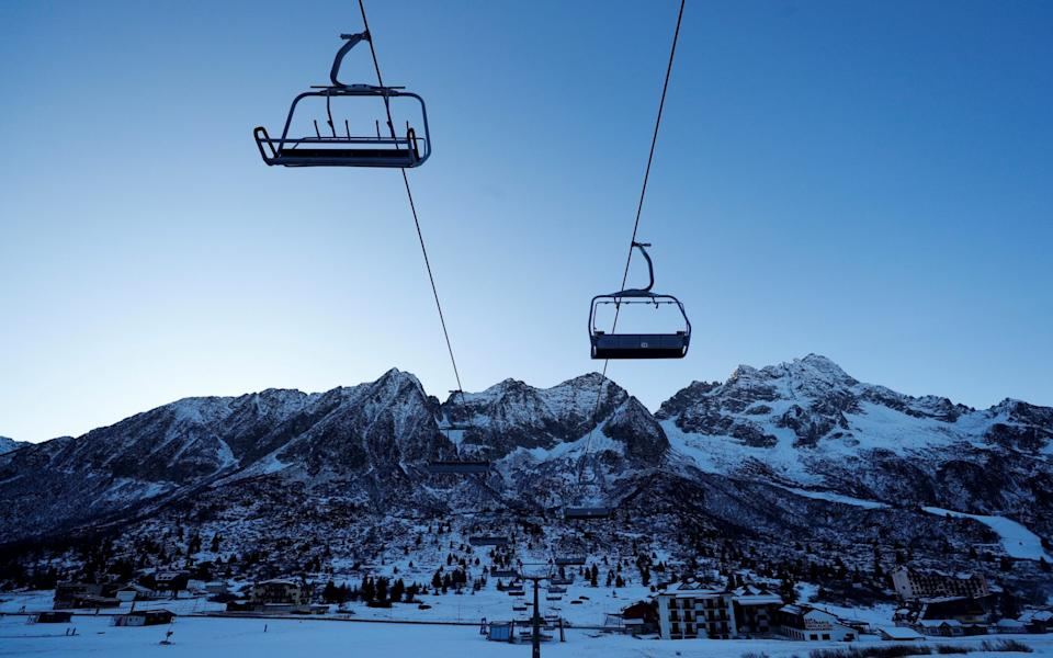 A closed chairlift is seen at the ski resort of Passo Tonale in the Dolomites - REUTERS