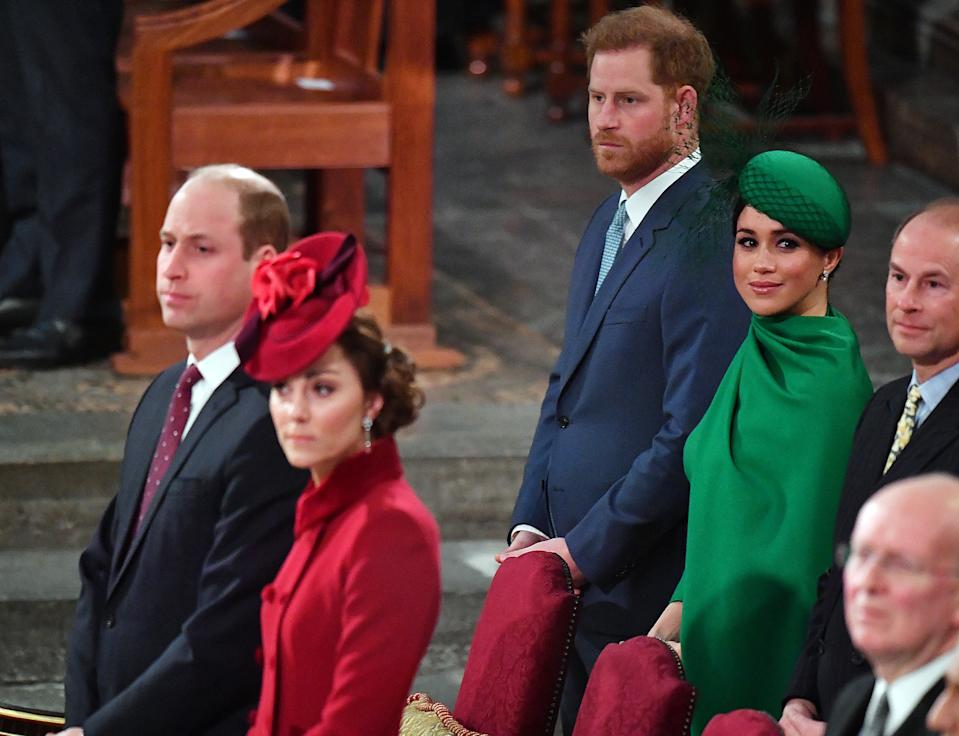 The Duke and Duchess of Sussex stand behind the Duke and Duchess of Cambridge, at the Commonwealth Service at Westminster Abbey, London on Commonwealth Day. The service is the Duke and Duchess of Sussex's final official engagement before they quit royal life.