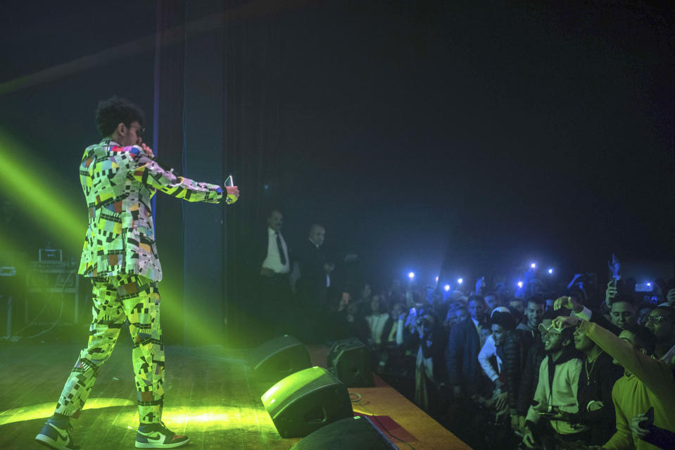 In this Friday, Nov. 22, 2019 photo, Moroccan rapper Abdelkrim Bouhjir, known as Kouz1, performs at a rap concert as part of the Visa for Music festival in Rabat, Morocco. (AP Photo/Mosa'ab Elshamy)