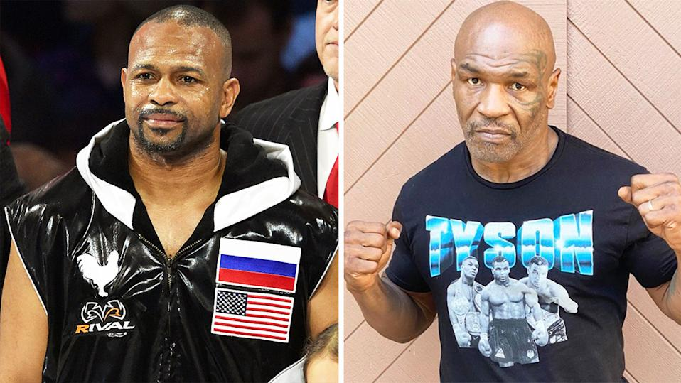 Roy Jones Jr (pictured left) before a boxing fight and Mike Tyson (pictured right) posing for a photo.