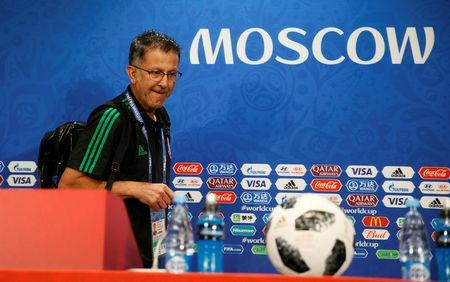 Soccer Football - World Cup - Mexico Press Conference - Luzhniki Stadium, Moscow, Russia - June 16, 2018 Mexico coach Juan Carlos Osorio arrives for the press conference REUTERS/Gleb Garanich