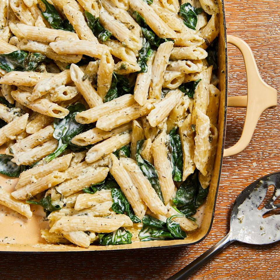 <p>Feta softens in the oven before it's combined with spinach and pasta, with the pasta cooking right in the baking dish. Enjoy this one-pan dish on its own as a vegetarian main or serve with sautéed chicken breast for a boost of protein.</p>
