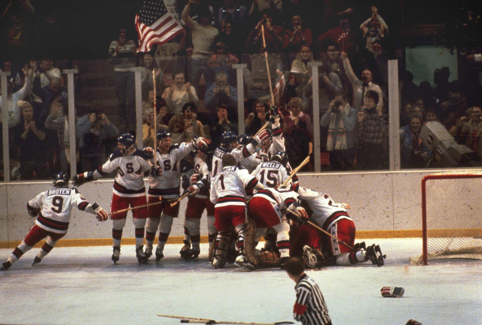 <p>At the 1980 Winter Games at Lake Placid, USA hockey fielded a team not of NHL pros, but of collegiate and amateur players. Expectations were decidedly low, but the team showed grit beating a powerhouse Russian team in a dramatic semifinal before going on to win gold by beating Finland in the final. (AP) </p>