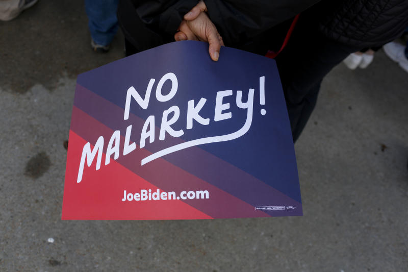 A sign in support of Joe Biden