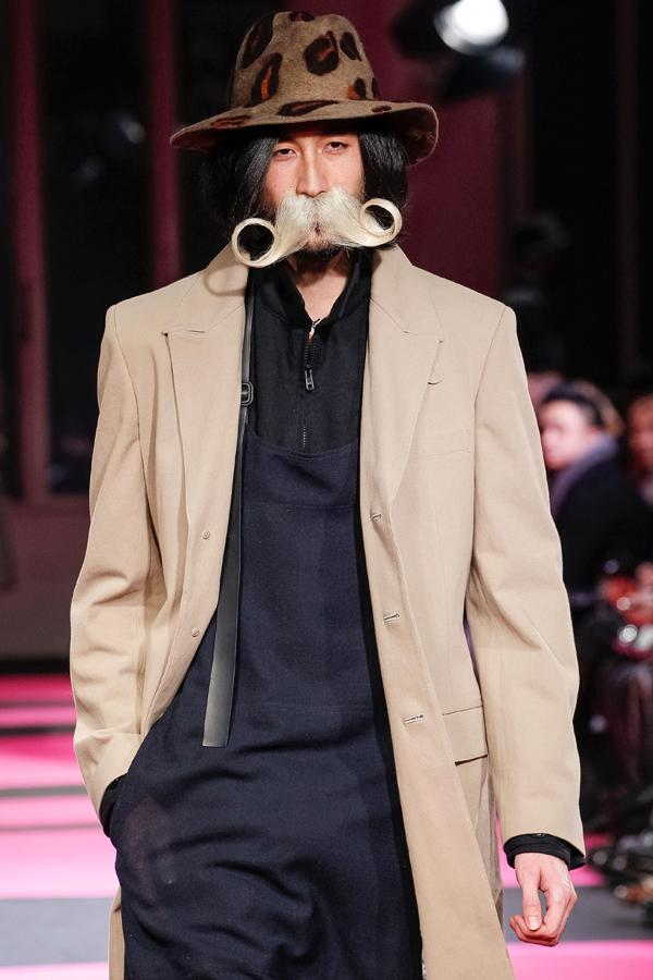 <b>Berlin Fashion Week</b>: Yohji Yamamoto sent models down the runway with weird and wonderful facial hair ©Rex