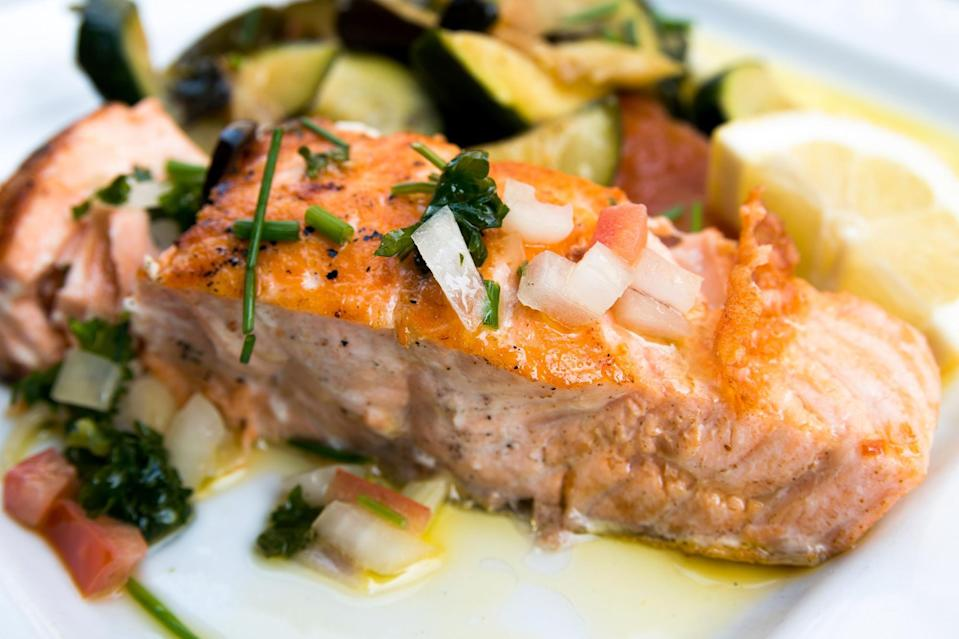 """<p>For those who skew pescatarian, salmon is a favorite choice for the Passover meal. This recipe is a riff on the pickled salmon common in Jewish delis, but with a more delicate flavor. <a href=""""https://www.thedailymeal.com/best-recipes/citrus-teriyaki-salmon?referrer=yahoo&category=beauty_food&include_utm=1&utm_medium=referral&utm_source=yahoo&utm_campaign=feed"""" rel=""""nofollow noopener"""" target=""""_blank"""" data-ylk=""""slk:Citrus Teriyaki salmon"""" class=""""link rapid-noclick-resp"""">Citrus Teriyaki salmon</a> is another excellent salmon main that would brighten up your Passover table.</p> <p><a href=""""https://www.thedailymeal.com/recipes/marinated-salmon-recipe-0?referrer=yahoo&category=beauty_food&include_utm=1&utm_medium=referral&utm_source=yahoo&utm_campaign=feed"""" rel=""""nofollow noopener"""" target=""""_blank"""" data-ylk=""""slk:For the Marinated Salmon recipe, click here."""" class=""""link rapid-noclick-resp"""">For the Marinated Salmon recipe, click here.</a></p>"""