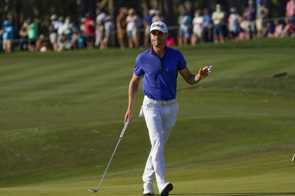 Justin Thomas celebrates after a birdie on the 16th hole during the final round of The Players Championship golf tournament Sunday, March 14, 2021, in Ponte Vedra Beach, Fla. (AP Photo/John Raoux)