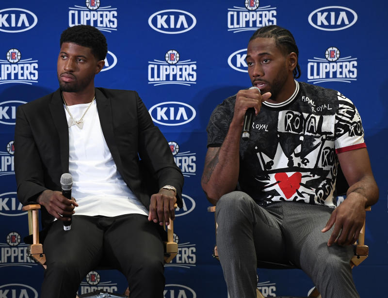 LOS ANGELES, CA - JULY 24: Kawhi Leonard speaks during his introductory news conference with Paul George at Green Meadows Recreation Center on July 24, 2019 in Los Angeles, California. NOTE TO USER: User expressly acknowledges and agrees that, by downloading and or using this photograph, User is consenting to the terms and conditions of the Getty Images License Agreement. at Green Meadows Recreation Center on July 24, 2019 in Los Angeles, California. (Photo by Kevork Djansezian/Getty Images)