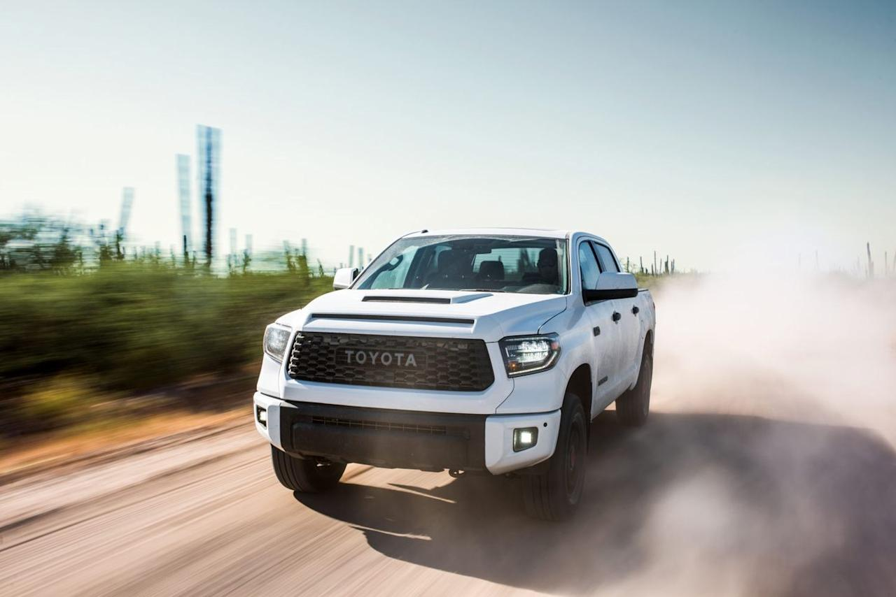 """<p><a href=""""https://www.caranddriver.com/toyota/tundra"""" target=""""_blank"""">The Toyota Tundra</a> has been around in pretty much the same form since 2007—that's pre-Instagram if you need a cultural reference point. So, it's old. But, the Tundra offers a spacious cabin and a decent roster of standard features, including Apple CarPlay and Android Auto phone integration functionality for most models. A 5.7-liter V-8 is the only engine option, an oddity among full-size pickups, which generally offer a plethora of engine choices. The Toyota's V-8 engine delivers mediocre fuel economy and towing performance, but the truck itself at least shines in off-road capability even in base form. The Tundra TRD Pro model adds to that dexterity with <a href=""""https://www.caranddriver.com/news/a16642801/toyota-tundra-trd-pro-gets-new-look-and-suspension-updates-for-2019/"""">new Fox 2.5-inch internal-bypass shocks</a> and lighter-weight 18-inch BBS wheels.</p>"""