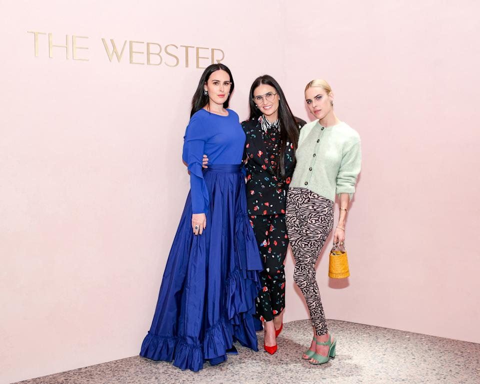 """Rumer Willis, left, with mom Demi Moore (center) and sister Tallulah Willis attended the Webster LA's launch party in February. <span class=""""copyright"""">(The Webster LA)</span>"""