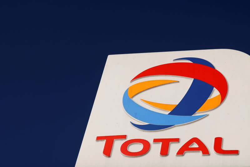 FILE PHOTO: The logo of French oil and gas company Total