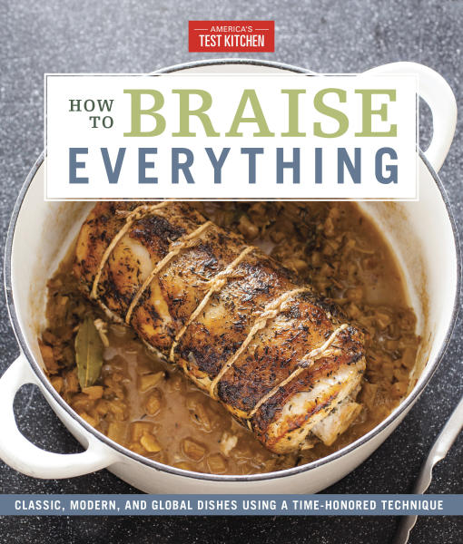 "This image provided by America's Test Kitchen in May 2019 shows the cover for the cookbook ""How to Braise Everything."" It includes a recipe for Salmon with Leeks and White Wine. (America's Test Kitchen via AP)"