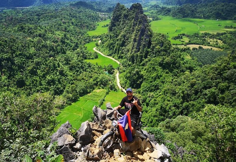 Harprit's 14-day journey brought him to many picturesque places including Nam Xay Viewpoint in Laos.