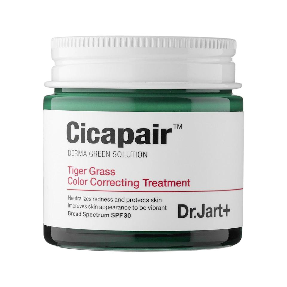 "<p>Not only does this <a href=""https://www.popsugar.com/beauty/Dr-Jart-Cicapair-Tiger-Grass-Color-Correcting-Treatment-44343685"" class=""link rapid-noclick-resp"" rel=""nofollow noopener"" target=""_blank"" data-ylk=""slk:Tik-Tok-famous"">Tik-Tok-famous</a> <span>Dr. Jart+ Cicapair Tiger Grass Color Correcting Treatment SPF 30</span> ($18) cover redness and blemishes, its namesake tiger grass actually helps eliminate the irritation that may be affecting your tired, sensitive skin in the first place.</p>"