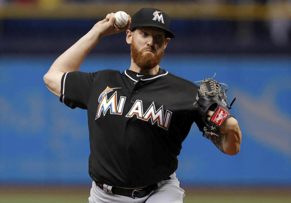 Miami Marlins starting pitcher Dan Straily throws during the first inning of the team's baseball game against the Miami Marlins on Friday, July 20, 2018, in St. Petersburg, Fla. (AP Photo/Mike Carlson)