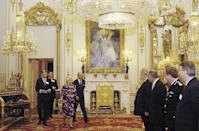 """<p>As soon as the Queen enters the room, everyone <a rel=""""nofollow noopener"""" href=""""http://www.eonline.com/shows/the_royals/news/610777/8-things-you-should-never-do-when-meeting-the-royals"""" target=""""_blank"""" data-ylk=""""slk:must stand to greet her"""" class=""""link rapid-noclick-resp"""">must stand to greet her</a> and should not sit down until she does. Only then is it polite to take a rest. </p>"""