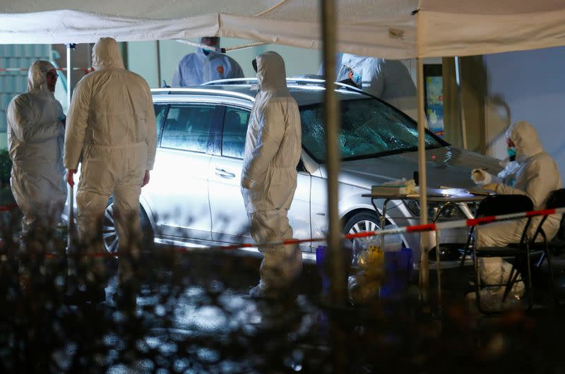 Police?forensic officers?work at the scene after a car ploughed into a carnival parade injuring several people in Volkmarsen