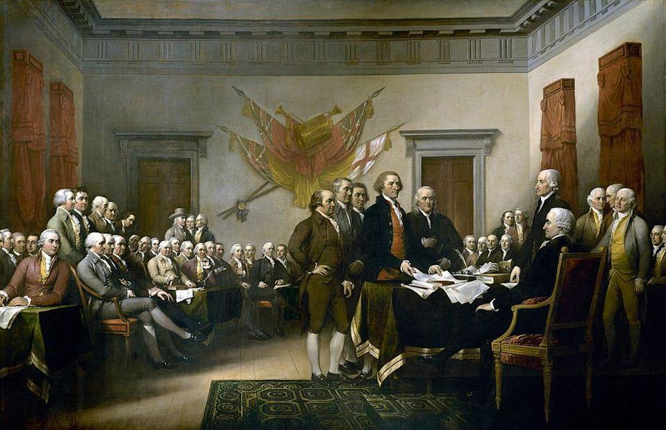 John Trumbull's painting, Declaration of Independence, depicting the five-man drafting committee of the Declaration of Independence presenting their work to the Congress. The painting can be found on the back of the U.S. $2 bill. The original hangs in the