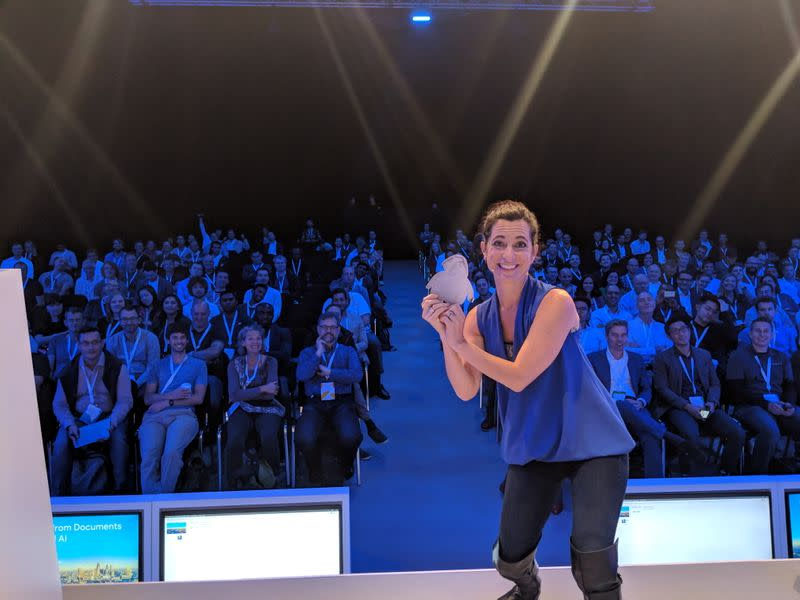 Tracy Pizzo Frey speaks at the Google Cloud NEXT conference in London