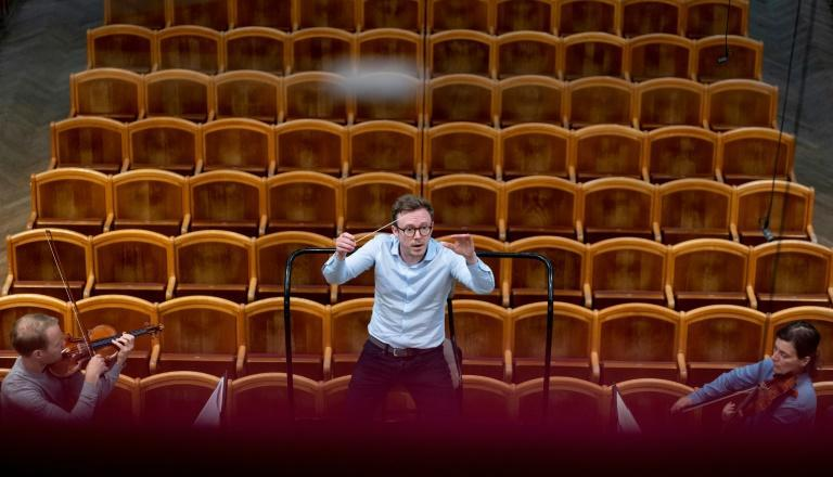 Conductor Daniel Harding rehearses with the Vienna Philharmonic Orchestra after cultural venues in Austria reopened on May 19