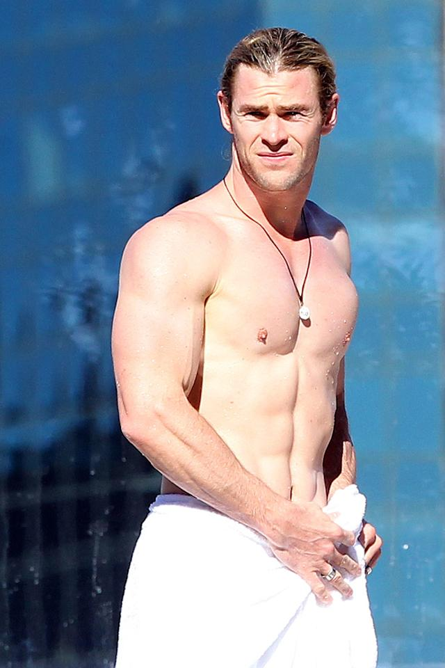 "It's summer, which means it's time to break out the bathing suits! ""Thor"" hottie Chris Hemsworth proudly showed off his ripped bod while taking a dip.<br><div style=""display:none;"" class=""skype_pnh_menu_container""><div class=""skype_pnh_menu_click2call""><a class=""skype_pnh_menu_click2call_action"">Call</a></div><div class=""skype_pnh_menu_click2sms""><a class=""skype_pnh_menu_click2sms_action"">Send SMS</a></div><div class=""skype_pnh_menu_add2skype""><a class=""skype_pnh_menu_add2skype_text"">Add to Skype</a></div><div class=""skype_pnh_menu_toll_info""><span class=""skype_pnh_menu_toll_callcredit"">You'll need Skype Credit</span><span class=""skype_pnh_menu_toll_free"">Free via Skype</span></div></div>"