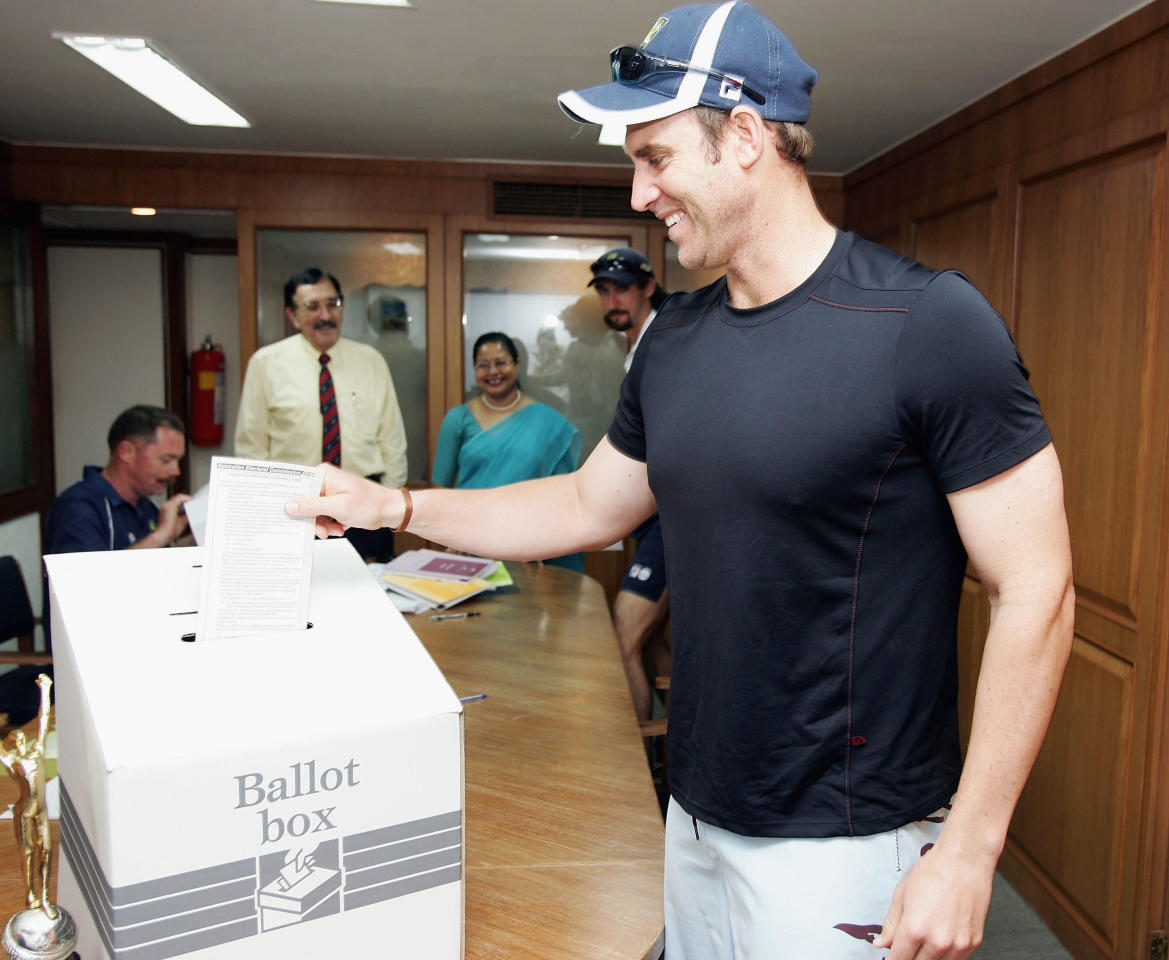 MUMBAI, INDIA - SEPTEMBER 29:  Matthew Hayden of Australia casts his vote for the upcoming Federal Election at the Australian Consulate on September 29, 2004 in Mumbai, India. (Photo by Hamish Blair/Getty Images)