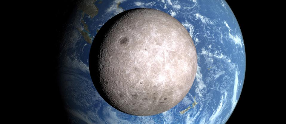 2015; the Deep Space Climate Observatory (DSCOVR) spacecraft's Earth Polychromatic Imaging Camera (EPIC) captured this view of an apparently Full Moon crossing in front of a Full Earth. (Photo by: Universal History Archive/ Universal Images Group via Getty Images)