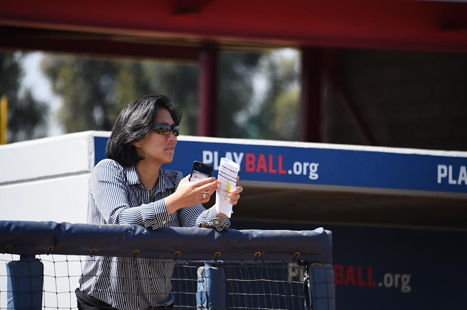 COMPTON, CA - JUNE 19: Kim Ng, Sr. VP Baseball & Softball Development for Major League Baseball looks on during the Breakthrough Series at the Compton Youth Academy on Tuesday, June 19, 2018 in Compton, California. (Photo by Juan Ocampo/MLB Photos via Getty Images)