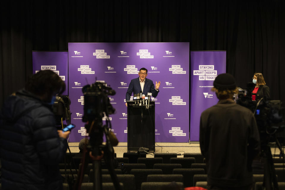 Premier of Victoria Daniel Andrews speaks during a news conference in Melbourne, Australia, Wednesday, Aug. 5, 2020. Victoria state, Australia's coronavirus hot spot, announced on Monday that businesses will be closed and scaled down in a bid to curb the spread of the virus. (AP Photo/Asanka Brendon Ratnayake)