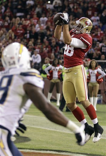 San Francisco 49ers tight end Garrett Celek (48) catches a touchdown pass from quarterback Josh Johnson against the San Diego Chargers during the second half of an NFL preseason football game in San Francisco, Thursday, Aug. 30, 2012. (AP Photo/Ben Margot)
